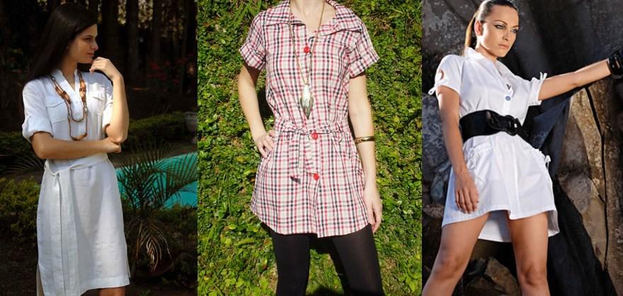 Chemisier: vestido camisa é um charme! Fotos e como usar.   chemisier 3   roupas moda    vestidos evasê Vestidos curtos vestidos camisa vestidos acinturados Vestidos primavera/verão peças chave outono/inverno Moda Look elegante Look casual Copie o Look como usar Chemisier Camisas