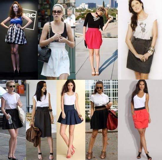 Saias com cintura alta   saias   roupas moda    verão 2010 tipos de saias tendência saia tulipa saia evasê saia em A saia curta saia Moda cintura alta