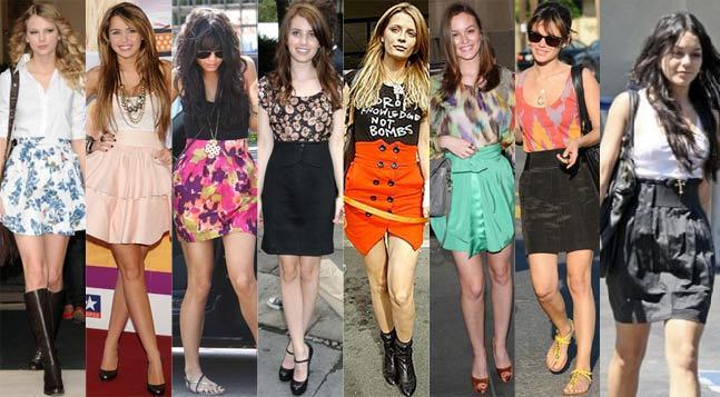 Saias com cintura alta   saias famosas   roupas moda    verão 2010 tipos de saias tendência saia tulipa saia evasê saia em A saia curta saia Moda cintura alta